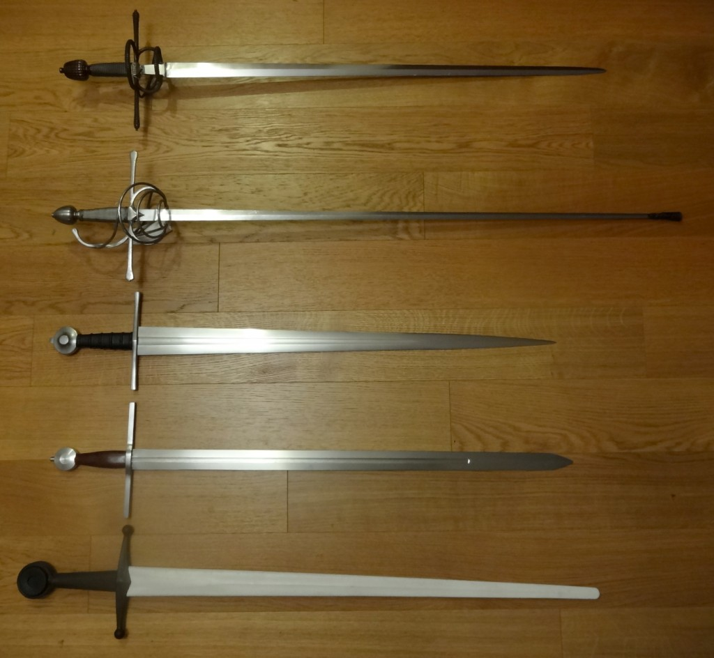 A group photo of the five swords